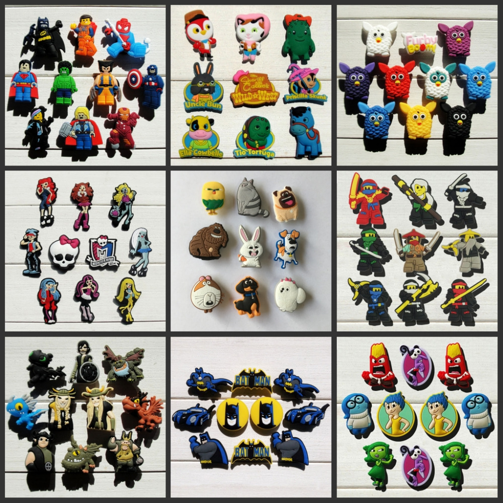 9-10pcs The Pets/Batman/Avengers/Inside Out/Planes/Mickey/Spiderman Shoe Accessories Shoe Charms Fit Bands Croc Jibz Party Gift