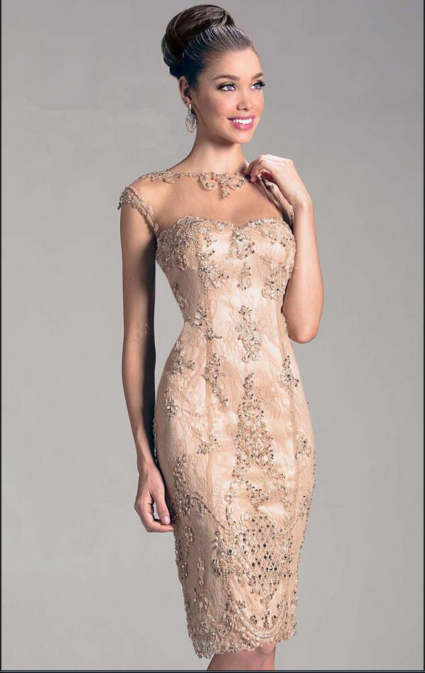 Vestido Cocktail 2017 Champagne Appliques Beads Knee Length Cocktail