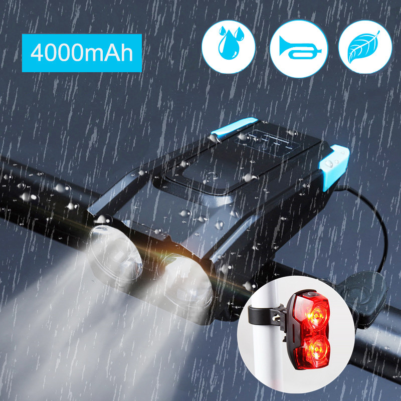 4000mAh Bicycle Flashlight Induction Bike Front Light Set USB Rechargeable Smart Headlight With Horn LED Bike Light+Rear Lamp