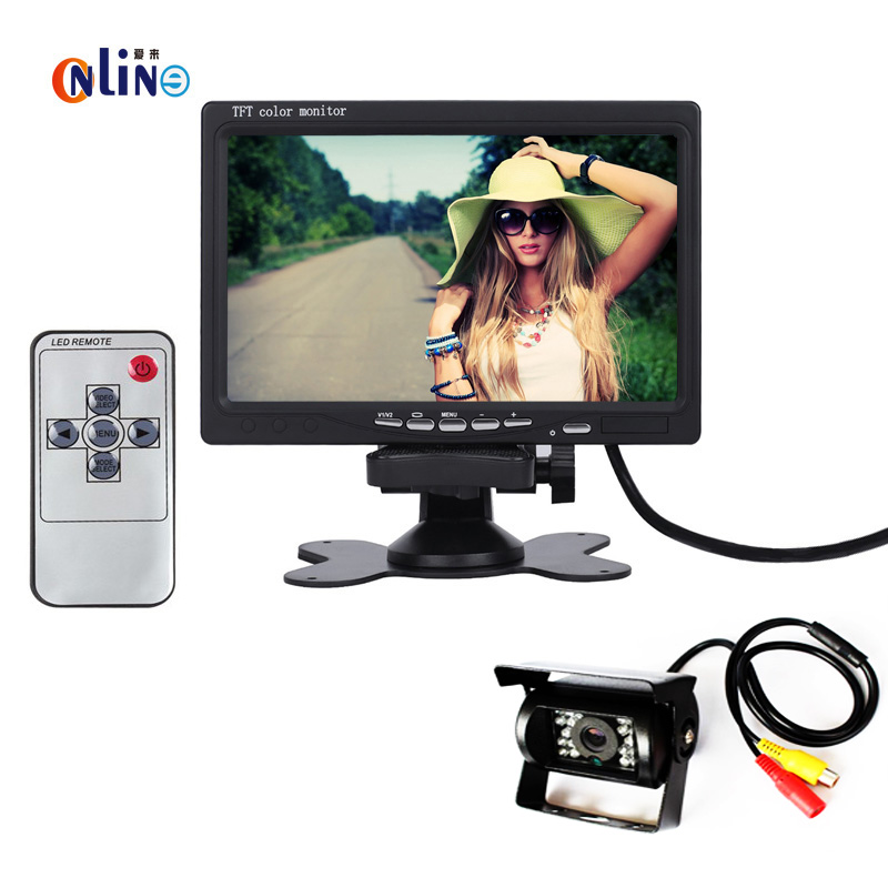 Online / DC 12V~24V Truck Bus Parking Monitor Camera System, 7 Car Monitor With Rear View Camera 15M RCA Video Cable free shipping 4 3 lcd monitor car rear view kit 1ch auto parking system for truck bus school bus dc 12v input rear view camera
