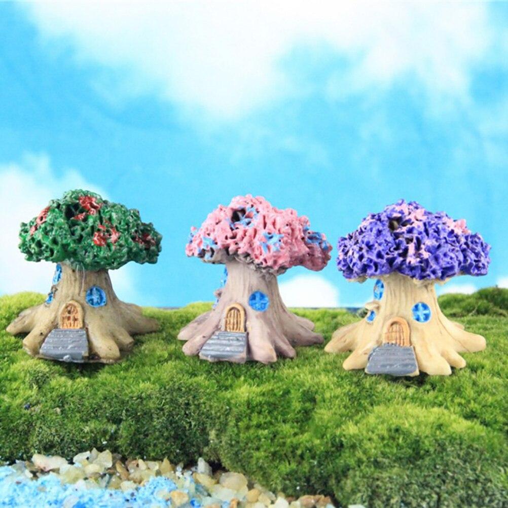Mini 3 Colors Miniatures Fairy Garden Plants Artificial Flower Trees Doll House Home Table Decor Bonsai