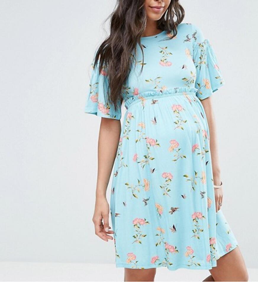 2018 Miaoyi New Round Neck Print Pregnant Women Skirt Short Sleeve Pregnant Women Dress  ...