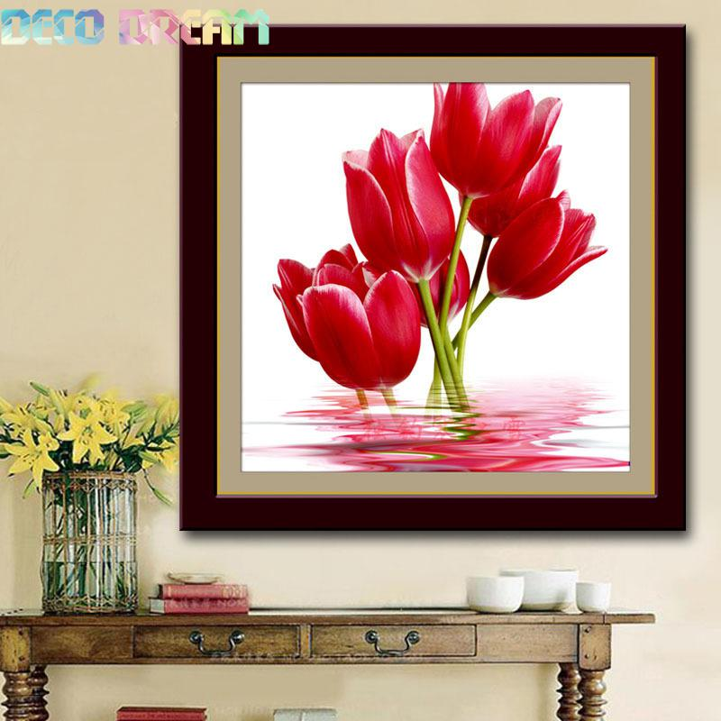 Full Diamond Painting Red Tulip Diy Diamond Embroidery Simple Modern Floral Decoration In The Bedroom A Good Gift For The Family in Diamond Painting Cross Stitch from Home Garden