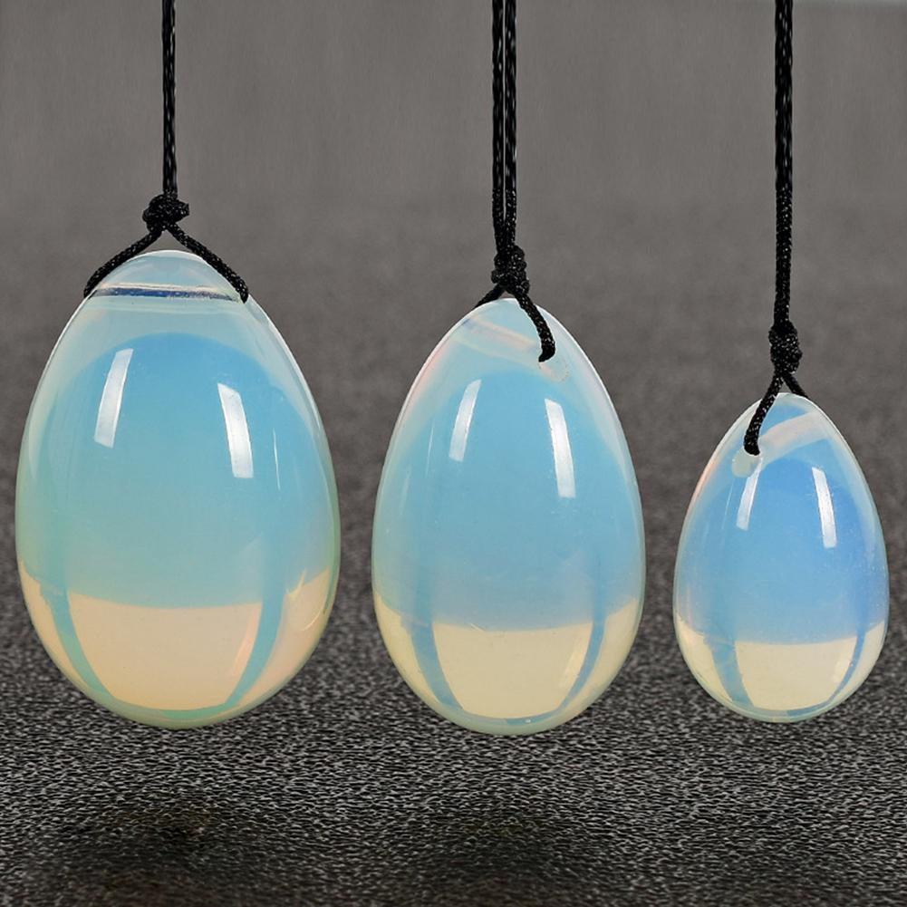 3PCS set White Opalite Yoni Eggs Jade Egg with Cords Gemstone Massage Ball for Exercise Pelvic