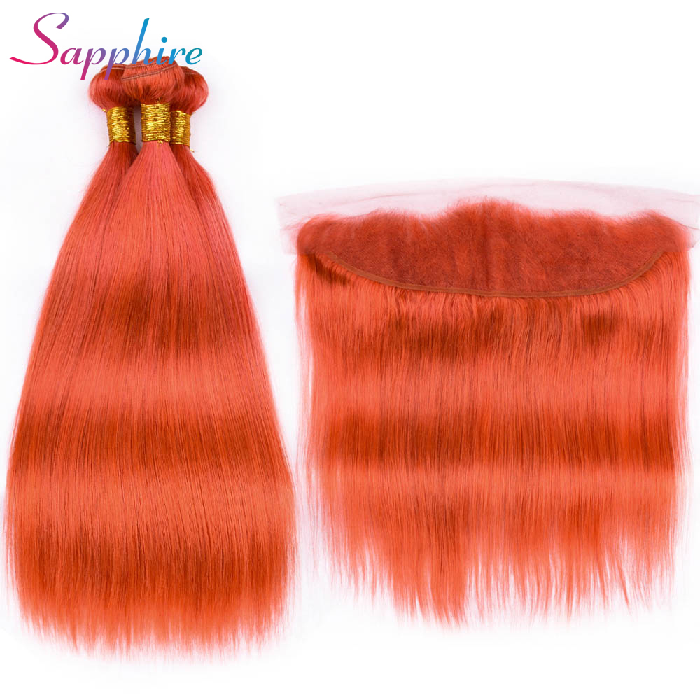 Sapphire Human Hair Bundles With Frontal Closure 13x4 Pre Plucked Straight Brazilian Hair Weave Bundles 3PCS Remy Hair Extension