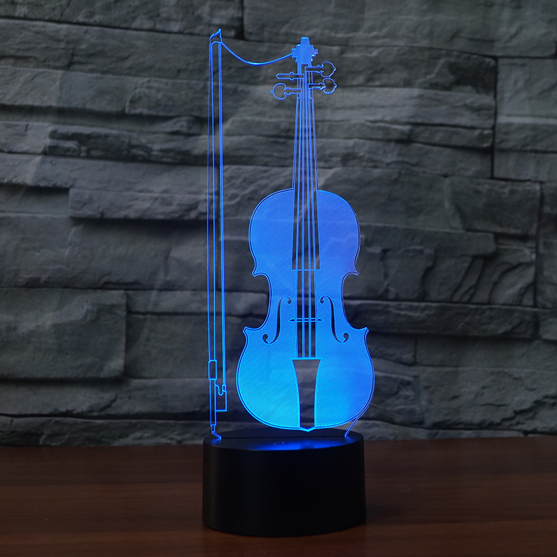 Violoncello design 7 Changing Colors 3D illusion night light For Children or Home Decor support USB