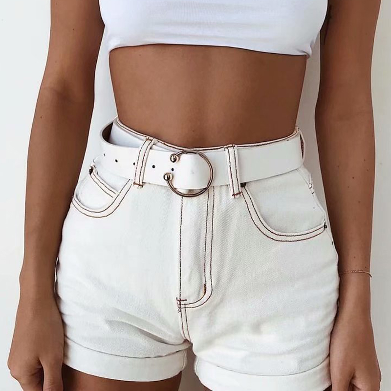 CWLSP Summer White Patchwork Women's Vintage High Waist Streetwear Short Jeans for Female Denim Shorts femme ete 2018 QL3922