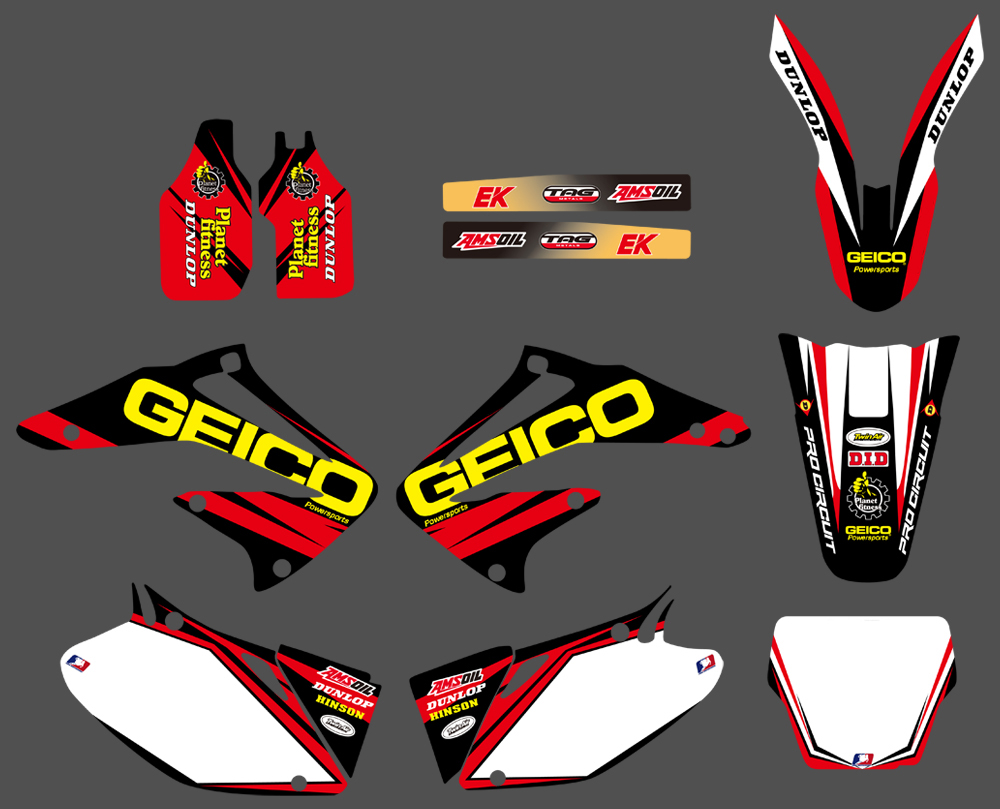 Motorcycle TEAM GRAPHICS & BACKGROUNDS DECALS STICKERS Kits For Honda CRF450R CRF450 2002 2003 2004 CRF 450 450R