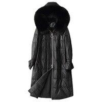 Genuine Sheepskin Leather Jacket Real Fox Fur Collar Hooded Coat Women Clothes 2018 Winter Duck Down Jackets Abrigo Mujer 28022