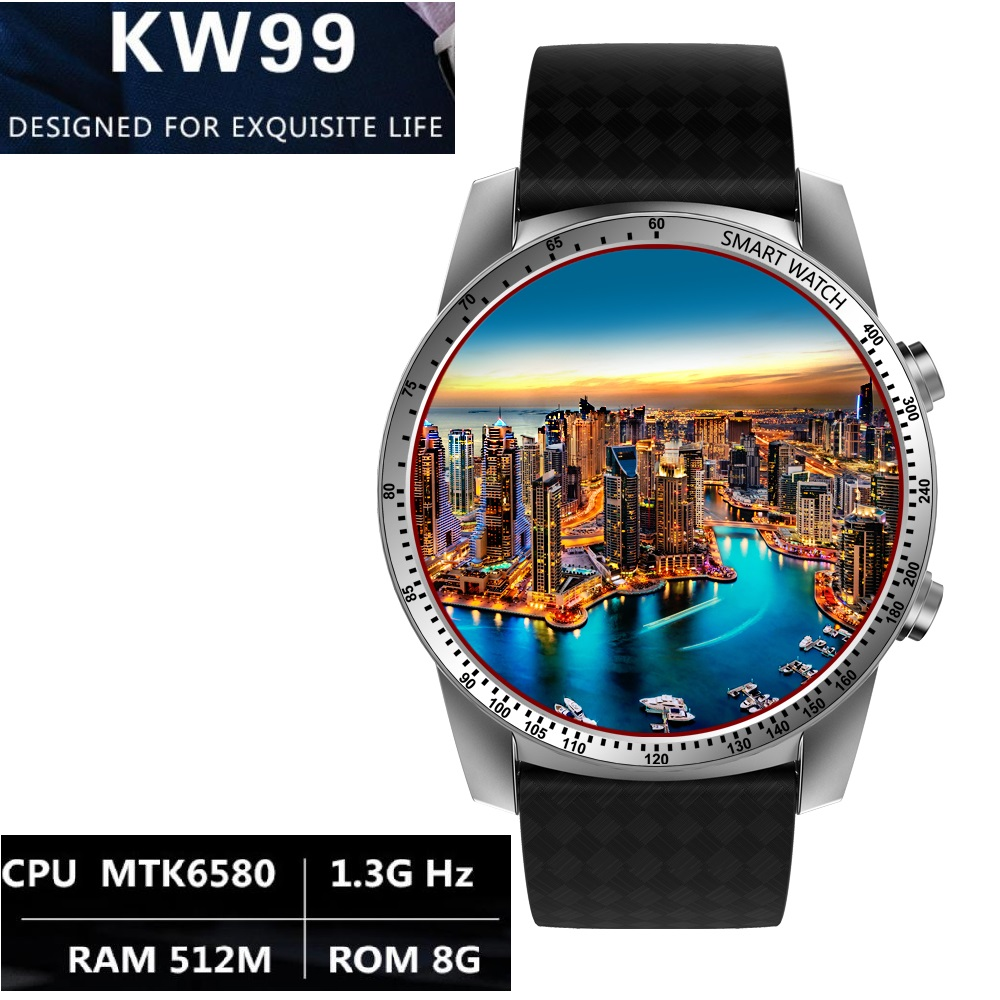 KingWear KW99 3G Smartwatch Bluetooth 4.0 Phone Android 5.1 1.39 inch MTK6580 Quad Core 1.3GHz 8GB ROM 512MB ROM 8GB huadoo v3 ip68 waterproof quad core android 4 4 3g smartphone w 4 0 wifi nfc 8gb rom bluetooth
