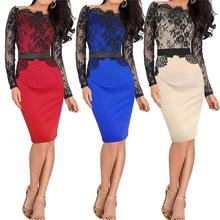 Beige Autumn Women Belt Elegant Lace Crochet Tunic Long Sleeve Colorblock Stretch Evening Party Bodycon Pencil Sheath Dress