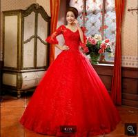 Real Fashion 2017 Ball Gown Champagne Lace Appliques Wedding Dress Short Sleeve Princess Puffy Cheap Wedding