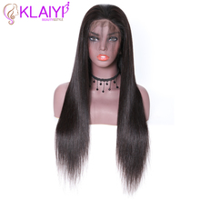 "Klayi Hair Brazilian Straight Lace Front Wigs Human Hair Wigs 180% Density With Baby Hair 13*4 Swiss Lace 12"" 28"" inch Remy Hair"