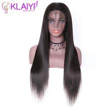 """Klayi Saç Brezilyalı Düz Dantel Ön Peruk İnsan Saç Peruk 180% Yoğunluk Ile Bebek Saç 13*4 İsviçre Dantel 12 """" 28"""" inç Remy Saç"""