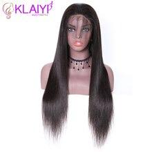 """Klayi cabelo brasileiro perucas retas do cabelo humano 180% densidade com cabelo do bebê 13*4 laço suíço 12 """" 28"""" polegada remy cabelo"""