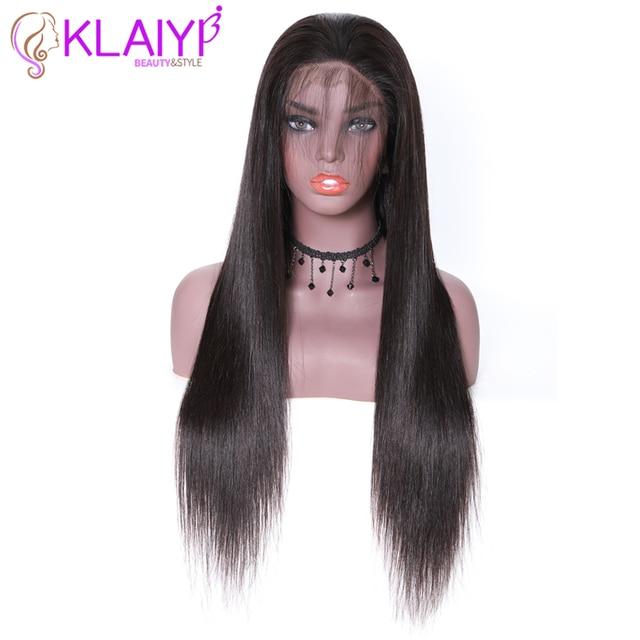 """Klayi pelucas de cabello humano con encaje frontal liso brasileño, 180% de densidad con pelo de bebé, encaje suizo 13*4, cabello Remy de 12 """" 28"""""""