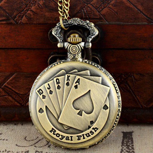 Full Hunter Steampunk Quartz Engraved Fob Retro Pendant Pocket Watch Chain Gift