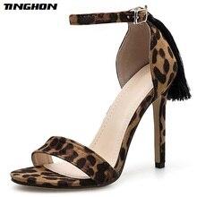 Купить с кэшбэком TINGHON Summer Fringe Leopard Print Shoes Women Sandals Sexy Open Toe Gladiator High Heels Buckle Strap Women Shoes Size 35-40