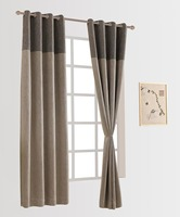 Flax Linen Room Darkening Grommet Top Curtain Panel Draperies 52W X 96L 52 W X 84L