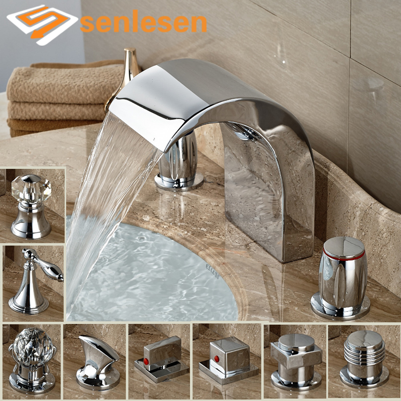 Wholesale And Retail Polished Chrome Bathroom Basin Faucet Deck Mounted Tub Faucet 3 Holes Sink Mixer Tap wholesale and retail chrome finish bathroom wall mounted basin sink countertop faucet