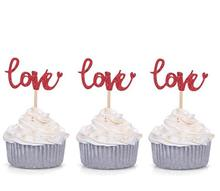 10pcs Red Love Cupcake Toppers Wedding Picks Decors