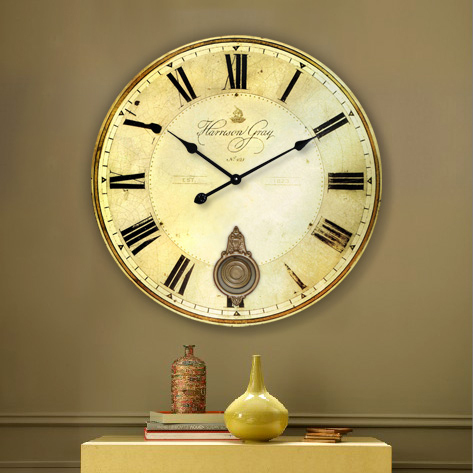 34CM & 60CM vintage large round wood wall watch clock for home decoration European country style kitchen room wall crafts