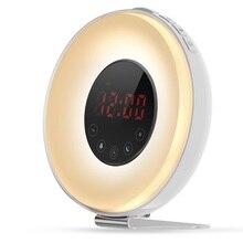 Wake Up Light Alarm Clock Sunrise Sunset Simulation Color Changing LED Digital Clocks with Snooze FM Radio Night Lights Lamp недорого