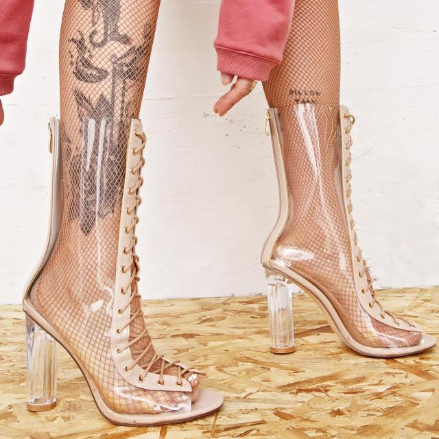 Attrape 2017 cristal à talons hauts femmes sandales PVC Transparent Cool bottes à lacets bottines femmes talons clairs Chunky sandales