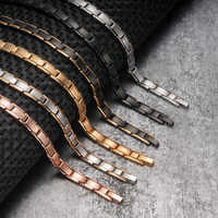 Vinterly Magnetic Bracelet Benefits Gold Chain Link Stainless Steel Bracelet Women Couple Energy Magnetic Bracelets for Women