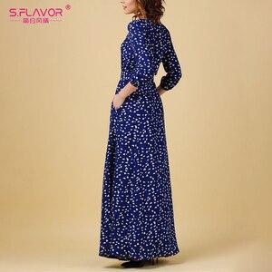 Image 5 - S.รส VINTAGE พิมพ์ชุดยาวผู้หญิงสบายๆฤดูใบไม้ผลิฤดูร้อน Elegant O คอผู้หญิง Maxi Vestidos ไม่มีกระเป๋า