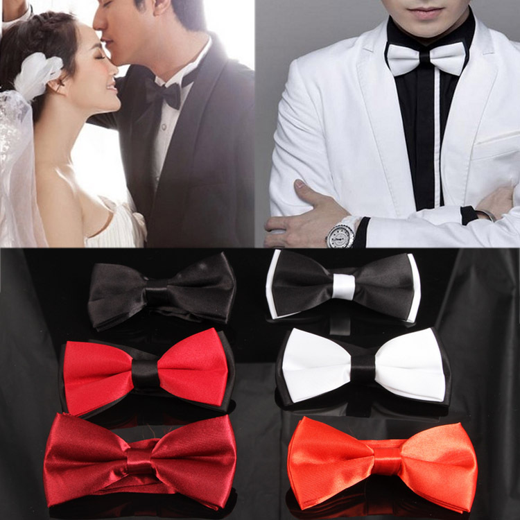 6 Colors Fashion New Mens TieFor Evening Party  Adjustable Plain Bow Tie Pre Tied Wedding Accessories