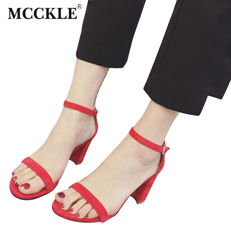 MCCKLE Women Summer High Heels 2017 Fashion Ladies Ankle Strap Sexy Party Shoes Women Square Heel Open Toe Buckle Sandals  miquinha summer fashion casual shoes women sandalia feminina open round toe buckle strap square heel shoes sexy ladies sandals