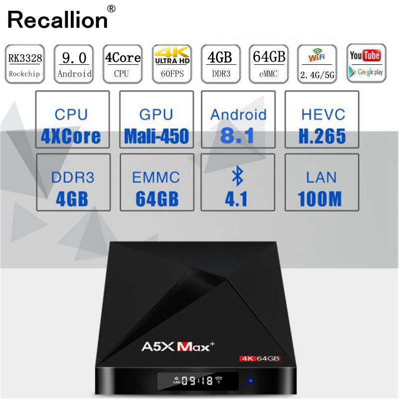 A5X MAX Smart Android 9.0 TV Box 4K HD TV Box RK3318 Quad-Core Media Player Support 2.4G WiFi Bluetooth 4.0 100M LAN Set-top Box
