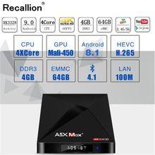 купить A5X MAX Smart Android 9.0 TV Box 4K HD TV Box RK3318 Quad-Core Media Player Support 2.4G WiFi Bluetooth 4.0 100M LAN Set-top Box по цене 2734.86 рублей