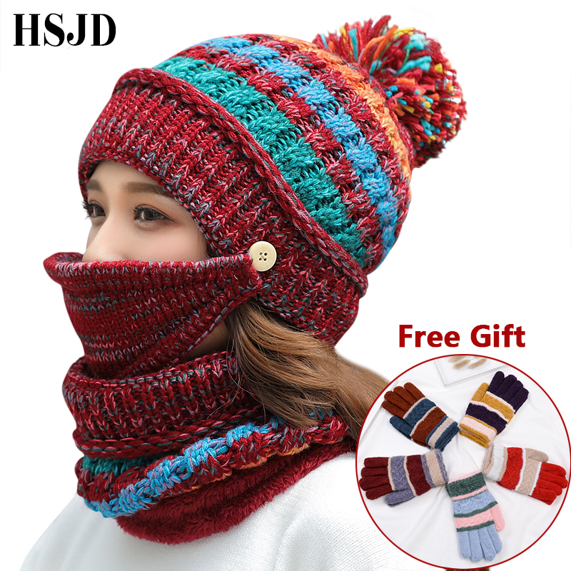Women Hat Scarf Winter Sets Knitted Hats Mask Face Protection 3 Pieces Set Balaclava Warm Ski Cap Thick Skullies Beanies Gloves