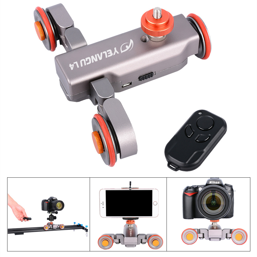 Wireless Remote Control Electric Motorized Dolly Car DSLR Electric Track Slider Video Pulley Rolling Skater for DSLR Smartphone