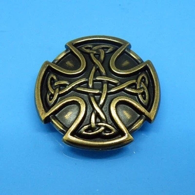 DIY Leathercraft Hardware 1 '' (25mm) Metal Concho Celtic Knot berukuran kecil Concho Antique Brass # JP-5712G-25