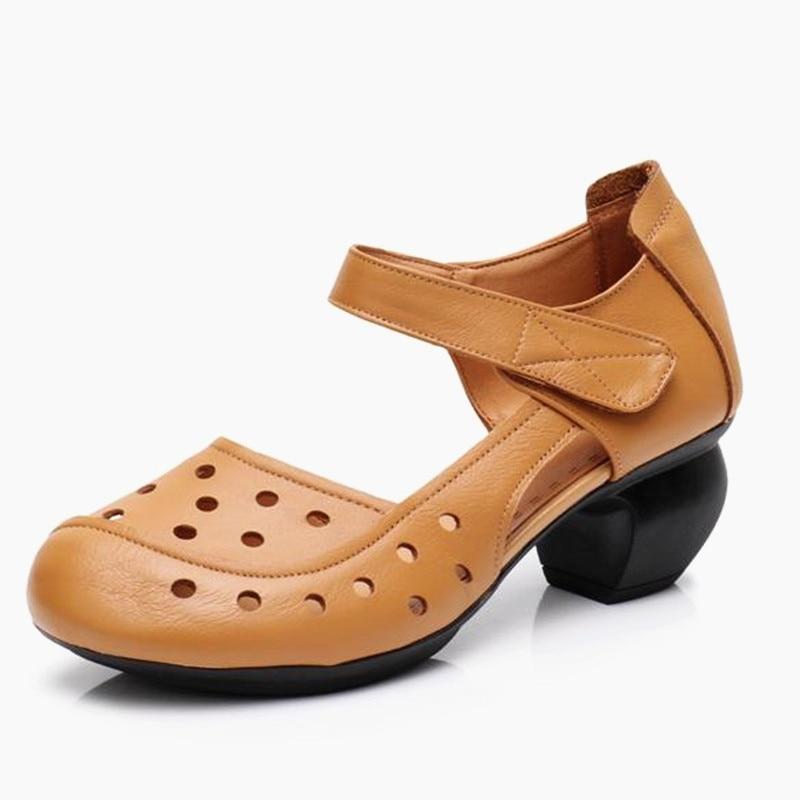Abedake brand woman sandals 2018 summer woman's shoes med heel fish mouth sandals women genuine leather handmak female sandals цены онлайн