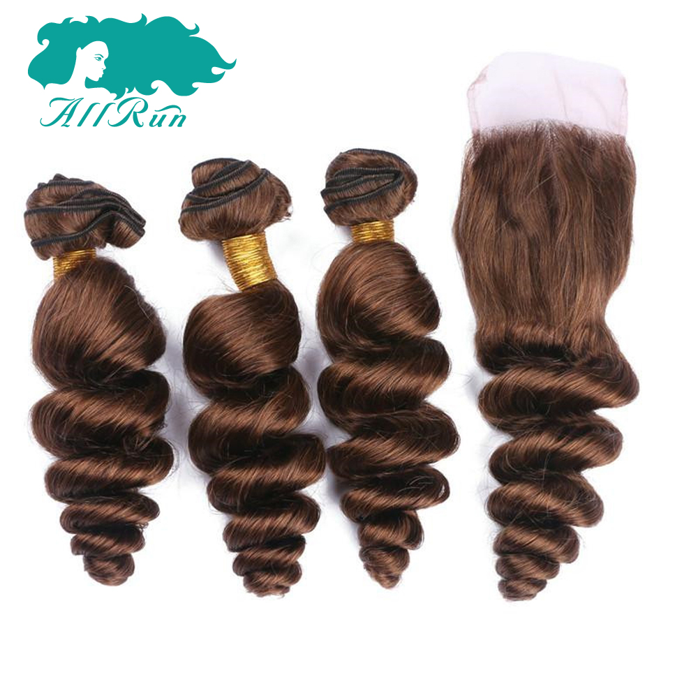 Allrun Hair Peruvian Loose Wave 2/3 Bundles with Lace Closure 33# Human Hair In Extensio ...