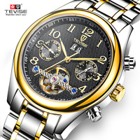 Tevise Brand Fashion Business Mens Clocks Automatic Mechanical Luxury Male Watches Stainless Steel Man Wristwatches Best