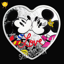 I LOVE YOU999 Silver Mickey Heart-shaped Love Coins Collectibles Confession Marriage Memorial Gift My Heart Flies for You