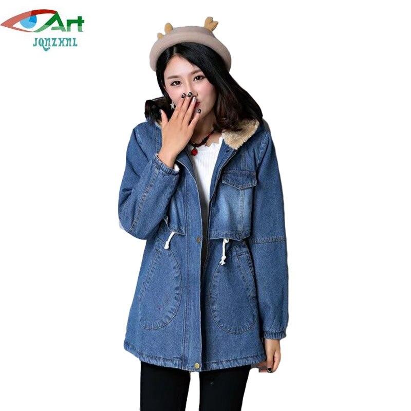 JQNZHNL Fashion Women Thicken Cotton Coats 2017 New Winter Women Denim Coats And Jackets Slim Hooded Cotton Coats Outerwear E471