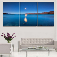 3 Pieces Handmade Ocean Blue Sky Wall Art Paintings Canvas Posters And Prints For Living Room The Decoration For The House