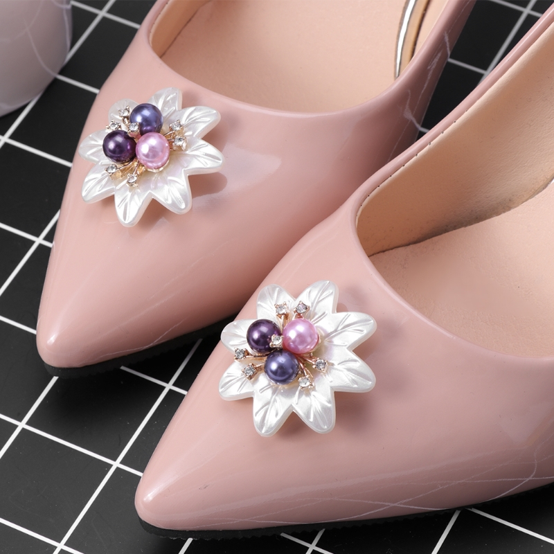 New 2pcs Floral Clothes DIY Faux Pearl Flower Ornaments Charms Headwear Fashion Decorations Accessories faux pearl flower decorated girl flower anklet