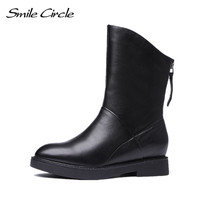 Smile Circle Genuine Leather Ankle Boots Women Black Pointed Toe Short Shoes Botas Plush Warm Winter