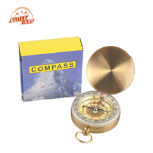 Outdoor Sports Camping Hiking Portable Brass Pocket Golden Multifunction Fluorescence Gold Compass Navigation 48mm 13mm