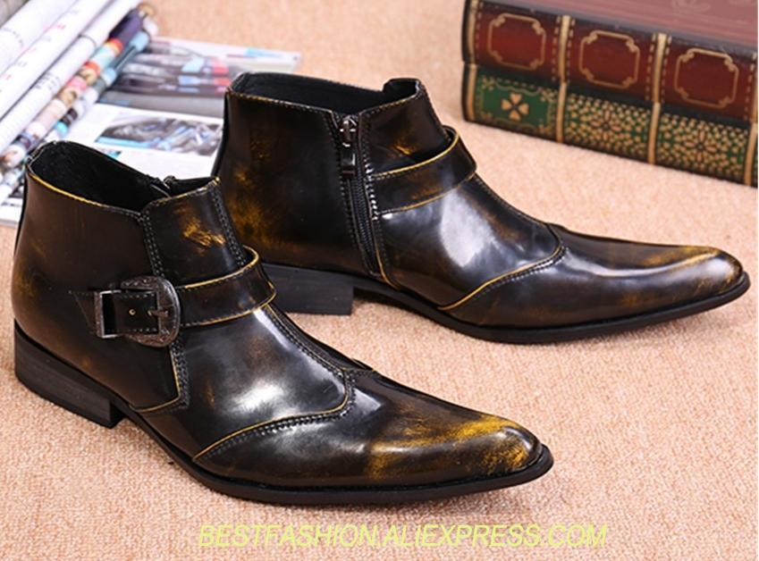 Genuine Leather Men Ankle Boots Pointed Toe Autumn Military Boots Wedding Shoes Business Casual Shoes