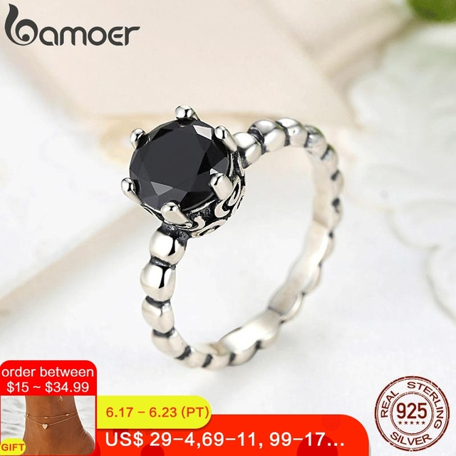 BAMOER Silver Color Finger Ring with Black Cubic Zirconia For Women Fashion Wedding Jewelry PA7205