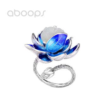 Women's 925 Sterling Silver Blue Enamel Lotus Flower Ring with White Stone Adjustable Size 6-8 Free Shipping