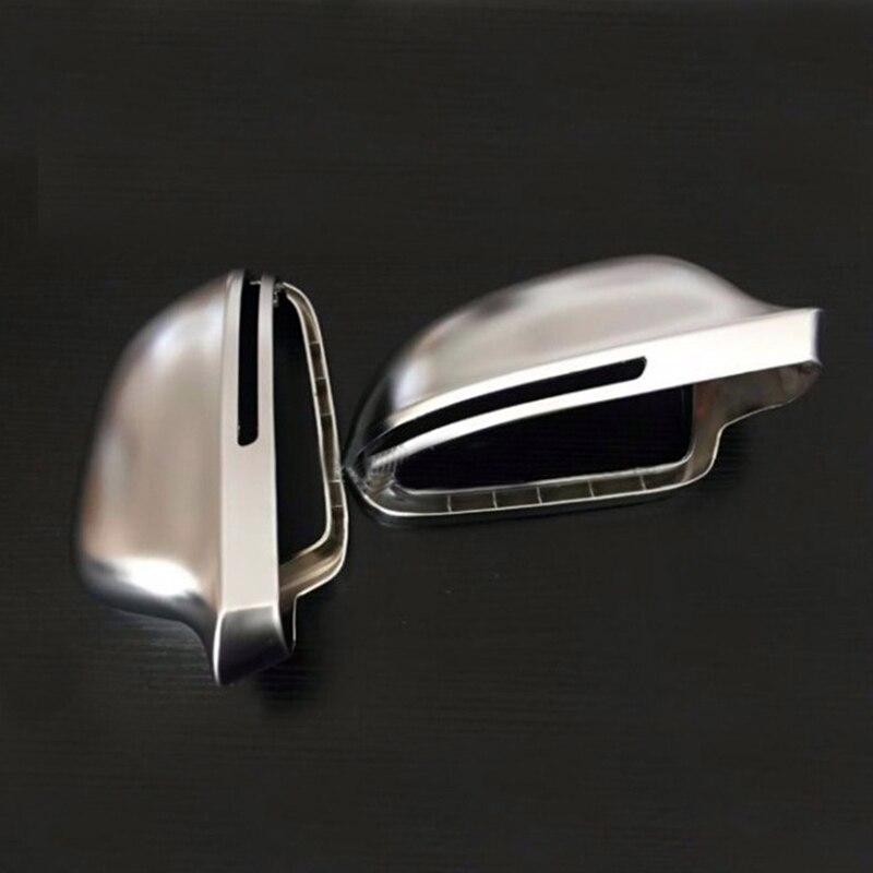 For Audi A4 B8 A6 C6 A5 8T Q3 A3 8P Matt Chrome Mirror Cover Rearview Side Mirror Cap S Line Lane Change